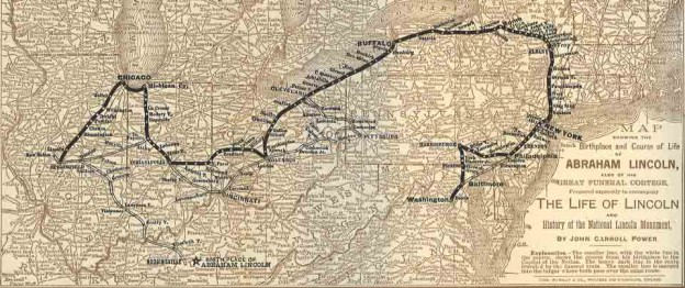 Route of Lincoln Funeral Train