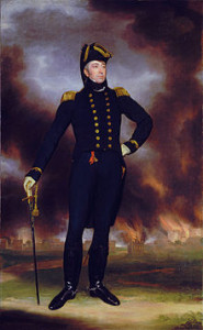 Rear Admiral Cockburn had his portrait painted in front of burning Washington